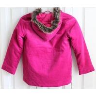 Gymboree Sz 7 8 Winter Fuschia Pink Coat Fur Hood Quilted Interior EUC