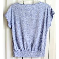 Womens Chelsea & Violet XS Short Sleeve Banded Waist T Shirt Gradient Gray