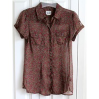 Converse One Star Sheer Ditsy Print Top Shirt Button Up Womens S