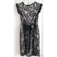 Mine Sexy Lace Little Black Dress Nude Underlay Womens Sz L