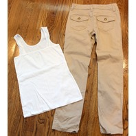 Justice 3 Pc Lot Khaki Pants Button Up Sweater White Tank Girls Sz 10 R 12