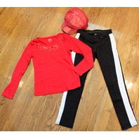 New Red Hat Justice Plaid Red Shirt Black Jeans Sz 10R 12 SequinTop Lot 4