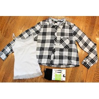 New Justice Tights S White Cami Divided Plaid Button Up Shirt 3 pc Lot Girls Sz 8