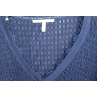 Victorias's Secret Filigree Navy V Neck Long Sleeve Sweater Womens Sz XL