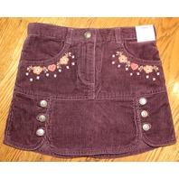 New Gymboree Girls Sz 4 Harvest Leaves Skirt Skort Cordroy Brown Embellished