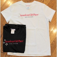 American Girl 2 Pc Lot Tee Shirts Short Sleeves Black and White Sz M