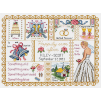 """Wedding Collage Counted Cross Stitch Kit-13"""" X 10 """" Bells Bride Ring Doves"""