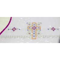 Janlynn Needlecraft Stamped Pillowcase Pair Religious Cross with vines