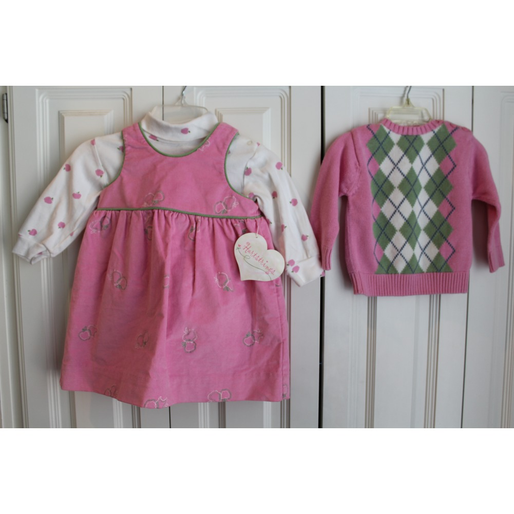 New Hartstrings 3 Pc Boutique Lot Sz 24 Mo Pink Dress Sweater