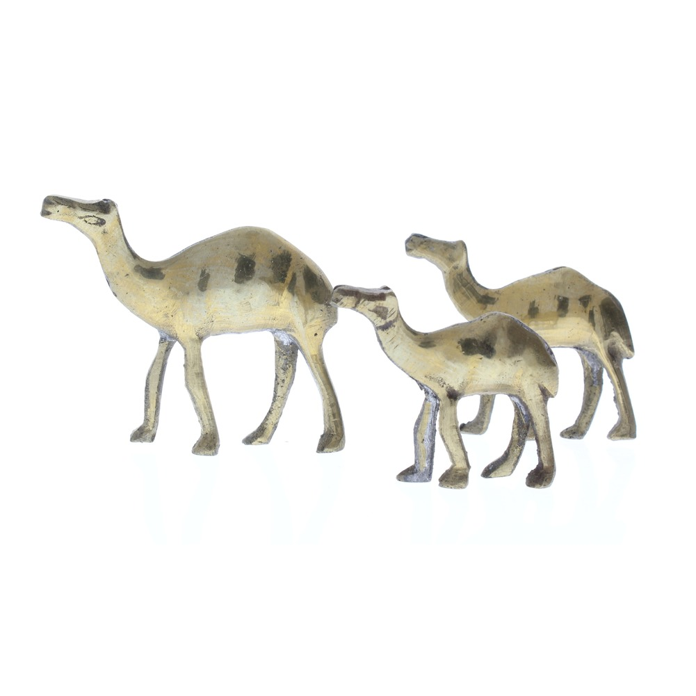 Pewter Metal Desert Camel trio Mom Dad and Baby Animal Figurine in brass