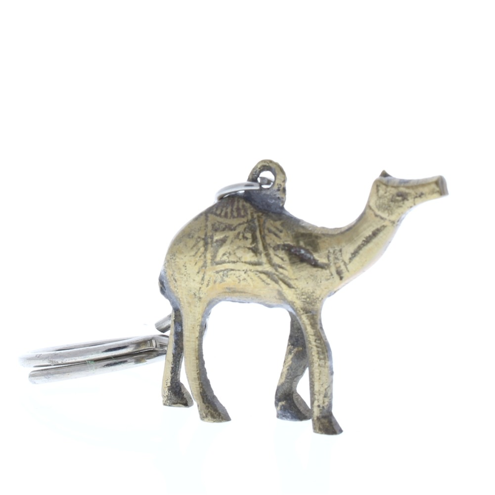 Metal Desert Camel Key Chain Animal Figurine in brass
