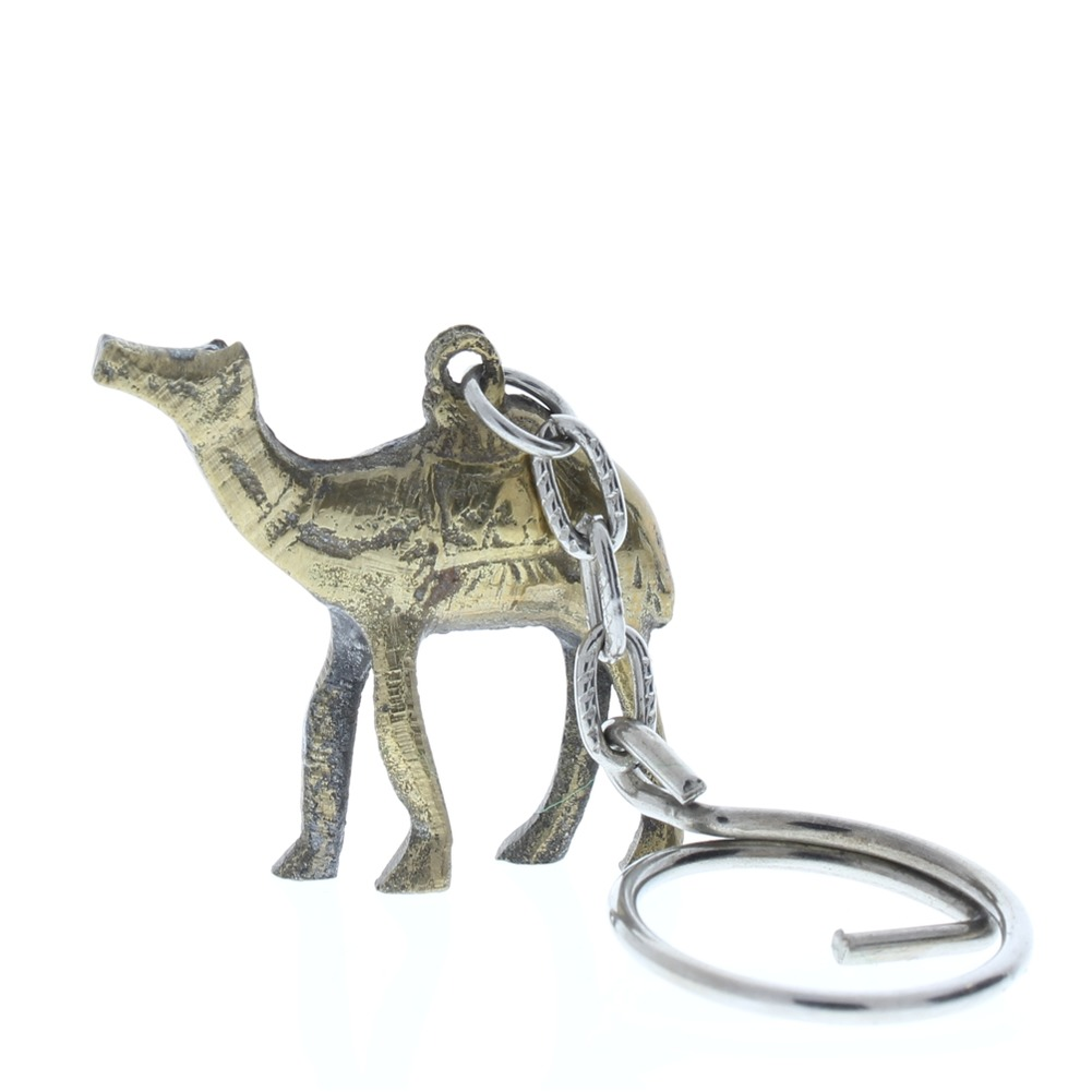 Metal Desert Camel Key Chain Animal Figurine in brass