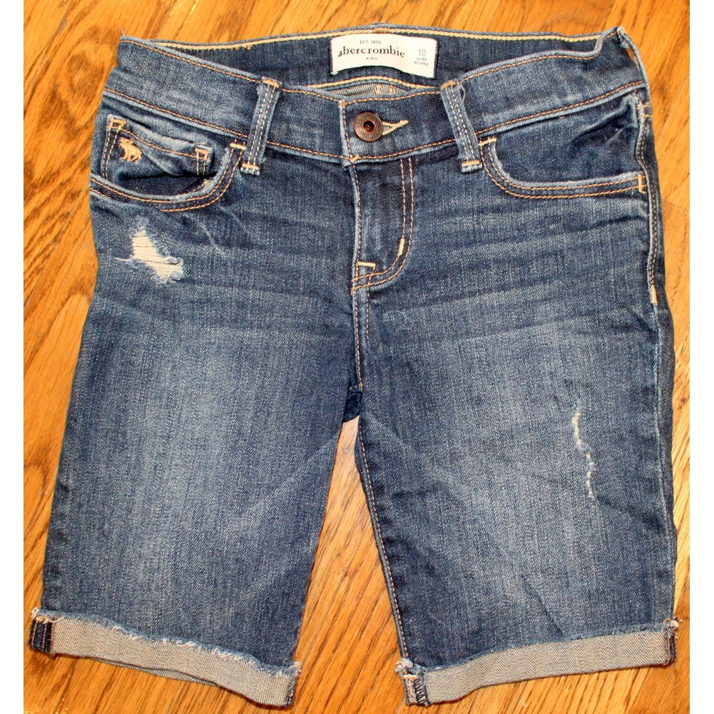 Abercrombie Kids Girls Jean Shorts Sz 10 Whiskered Destroyed Cuffed