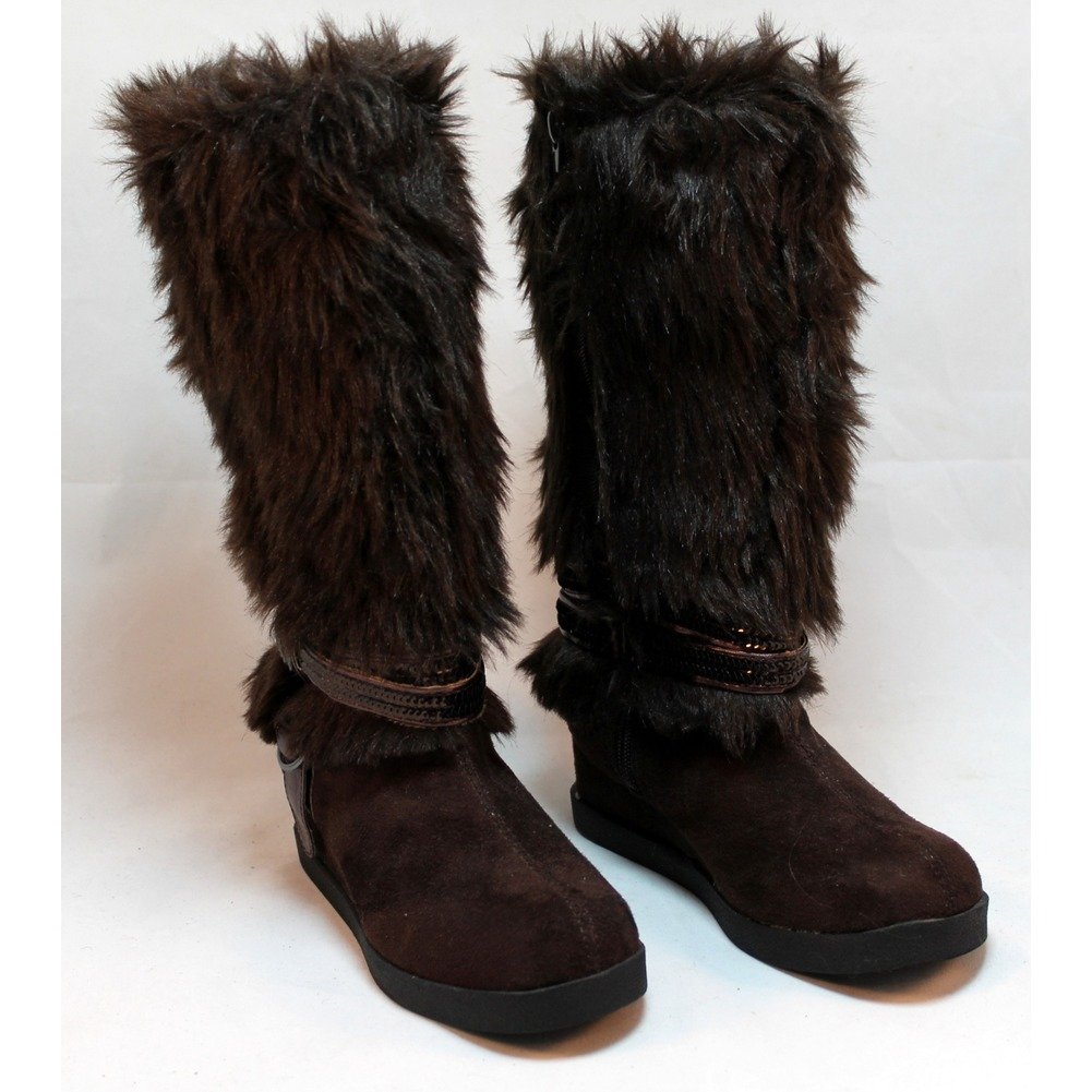 New NWT Girls Sz 2 Justice Brown Fur Sequin Zipper  Wedge Boots