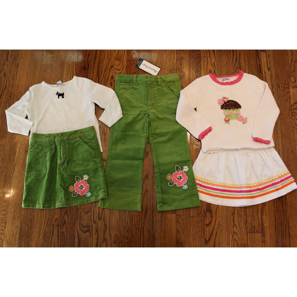 New Hartstrings 5 Pc Lot Cordroy Pants 2 Skirts Sweater Shirt Green Girls Sz 4