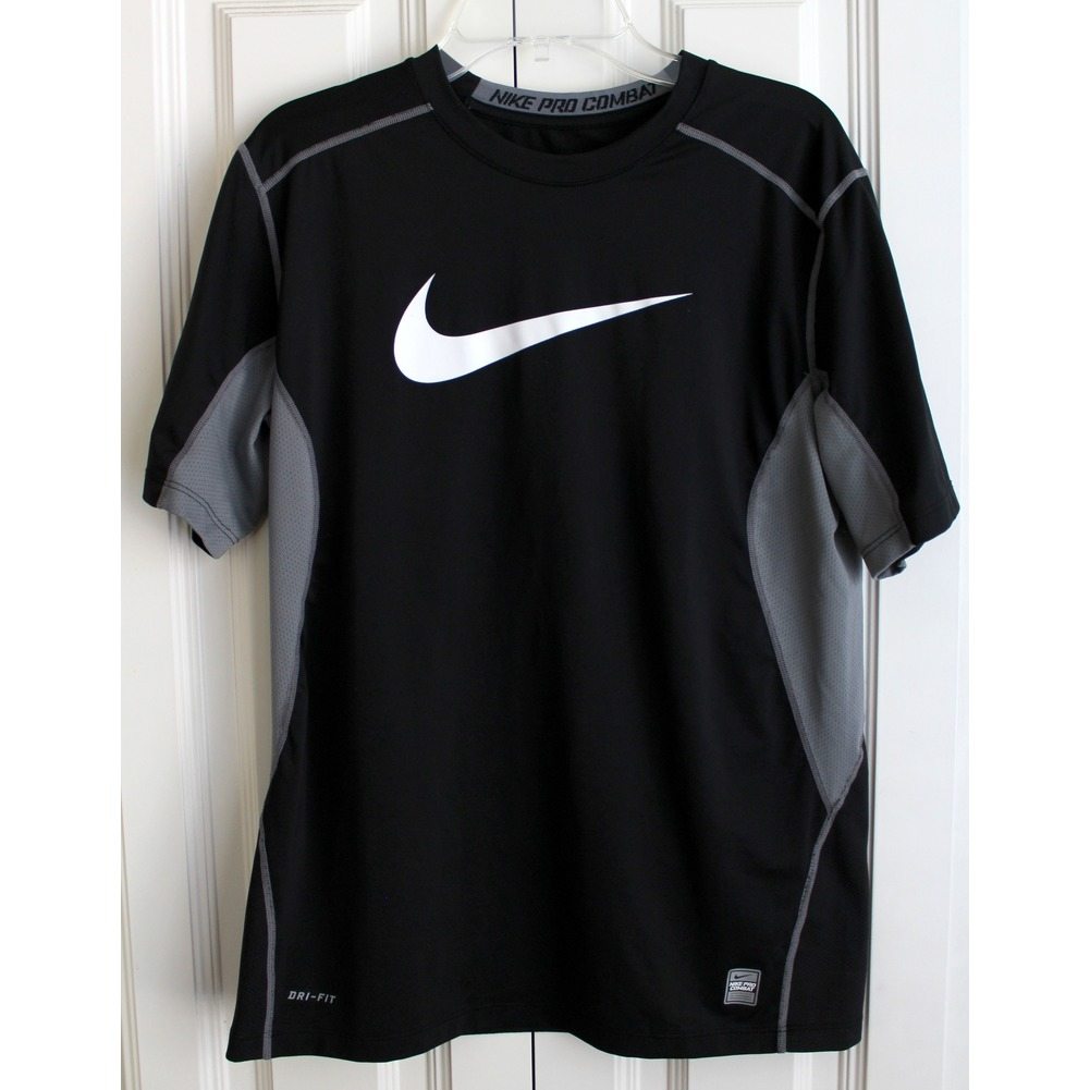 Boys Nike Pro Combat Sz XL Black Dri Fit Short Sleeve Shirt