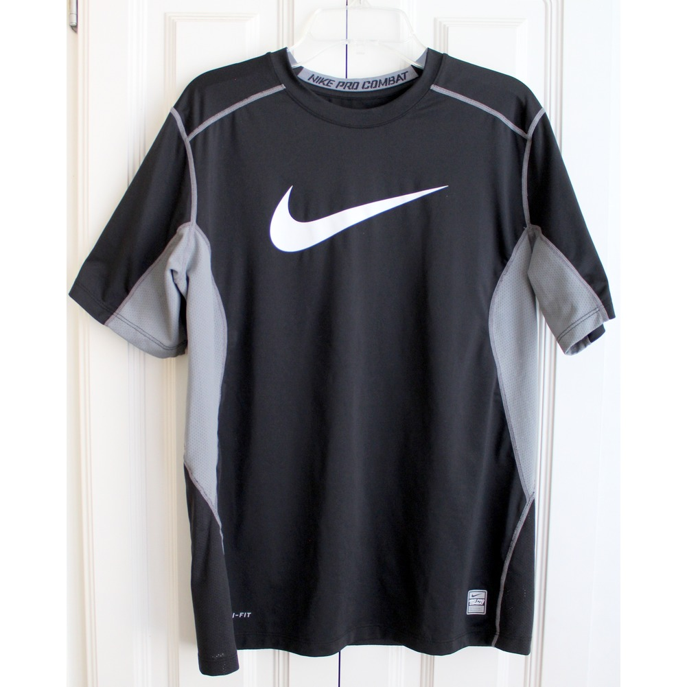 Boys Nike Pro Combat Sz XL Black Dri Fit Short Sleeve Shirt