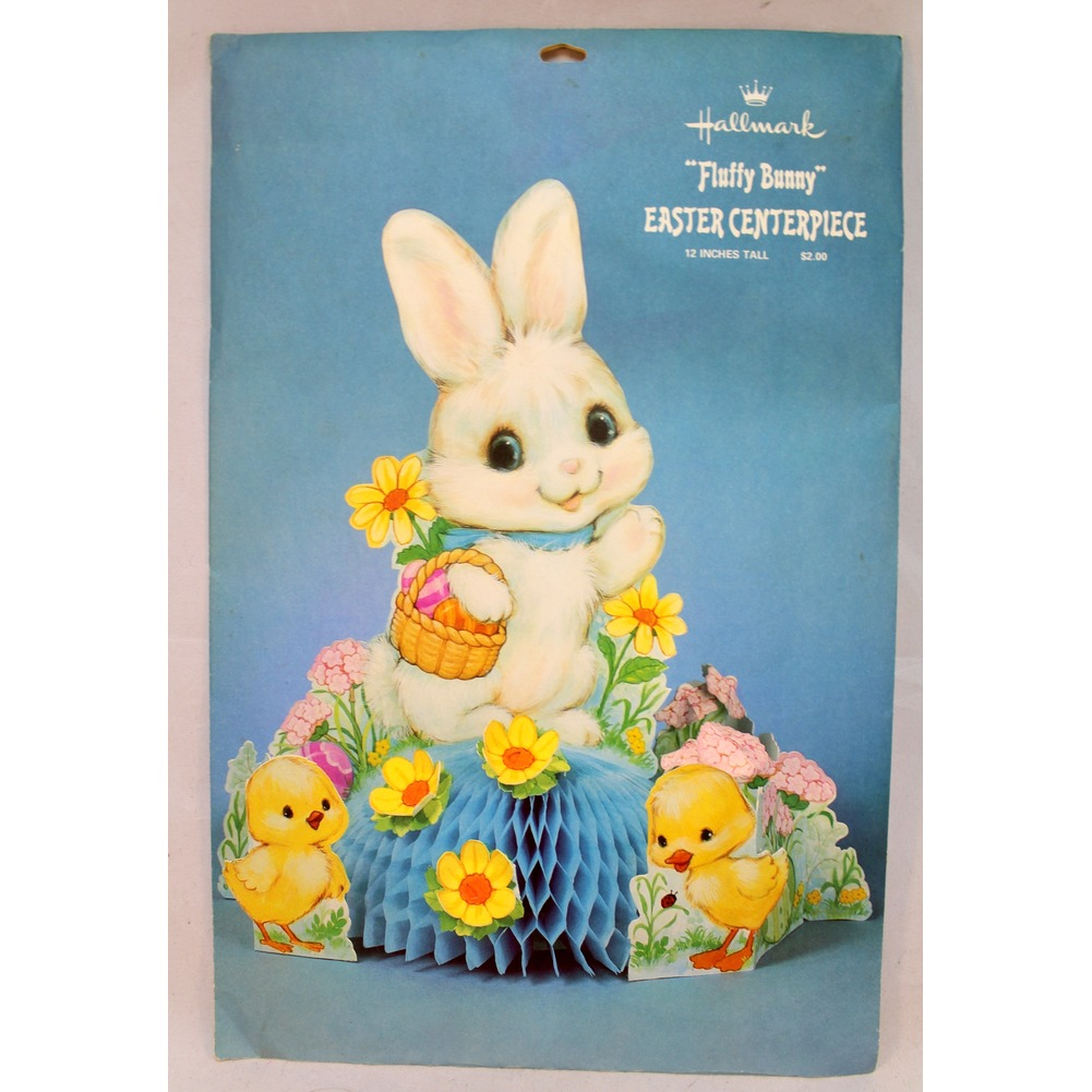 "Hallmark Fluffy Bunny Party Easter Centerpiece New and Sealed 12"" tall"