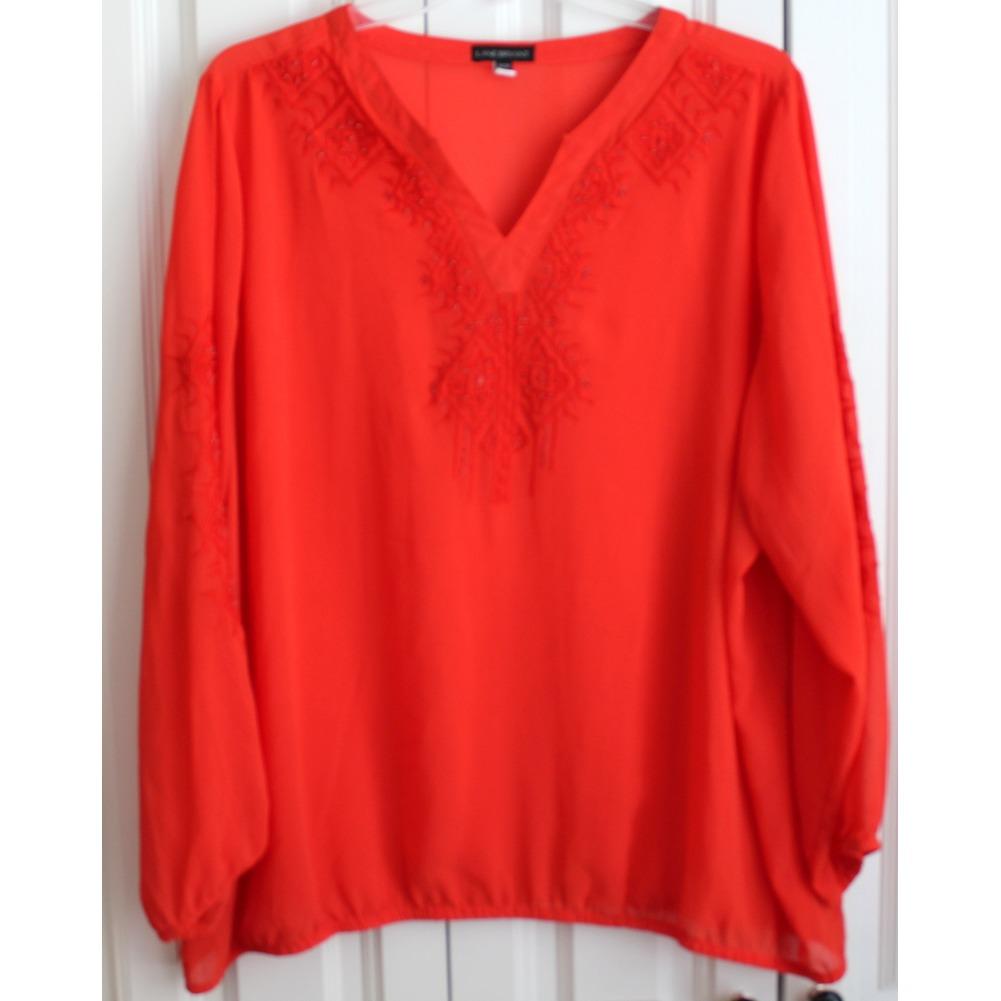 Women's Plus Lane Bryant Marmalade Sz 26/28 V Neck Blouse Long Sleeve