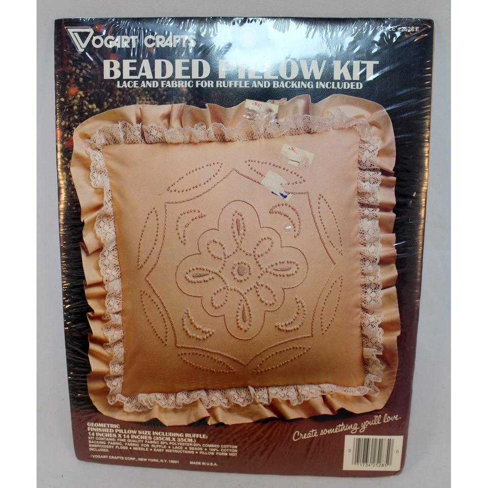 "Vogart Beaded Ruffled Pillow Kit New FACTORY SEALED 14"" X 14"""