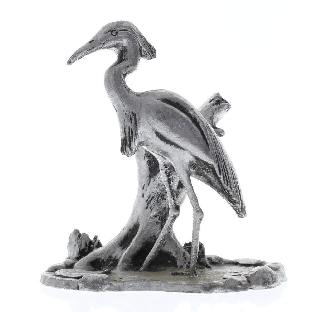 Handcrafted Solid XL Pewter Stork Heron in Marsh by a Stump or Crane