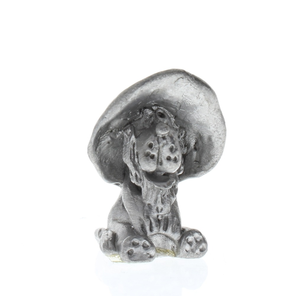 Handcrafted Solid Pewter Puppy Dog in a Wide Brimmed Hat