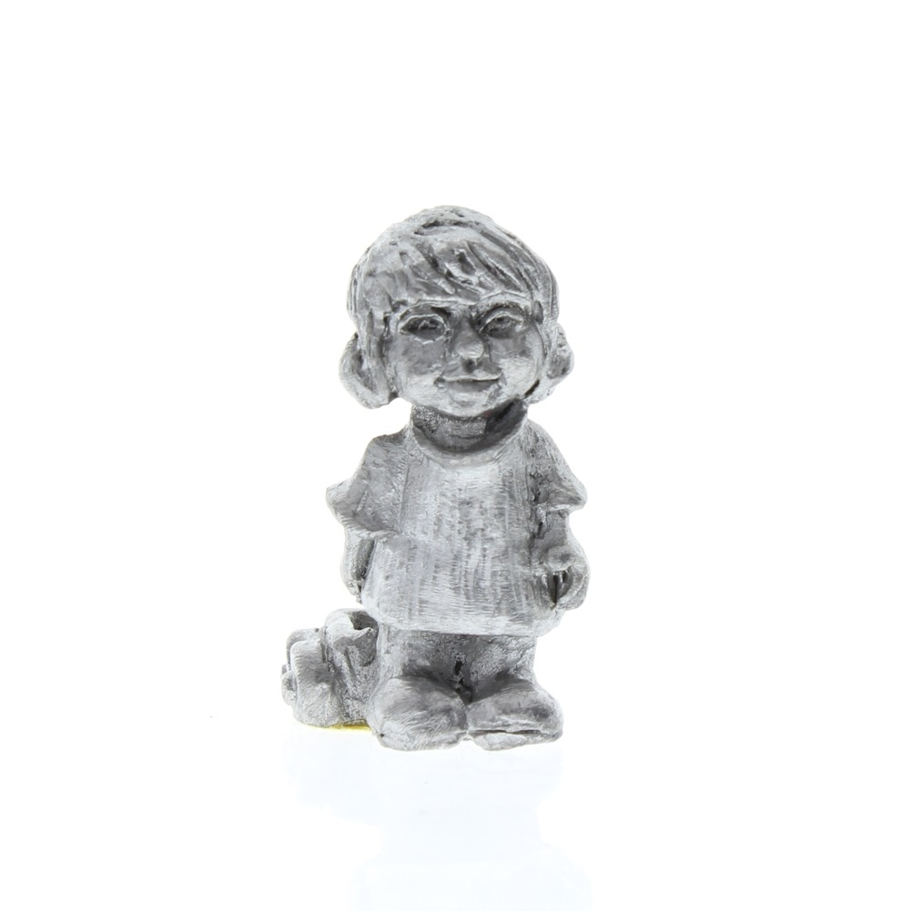 Handcrafted Solid Pewter Little Girl with a Wagon