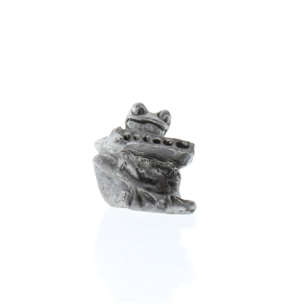 Handcrafted Solid Pewter Musical Frog Playing a Harmonica