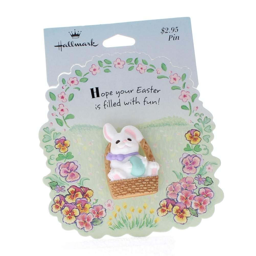 Hallmark Easter Pin White Bunny Rabbit in an Easter Basket