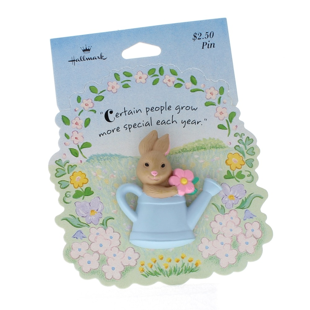Hallmark Easter Pin Easter Bunny in a Watering Can with Flower