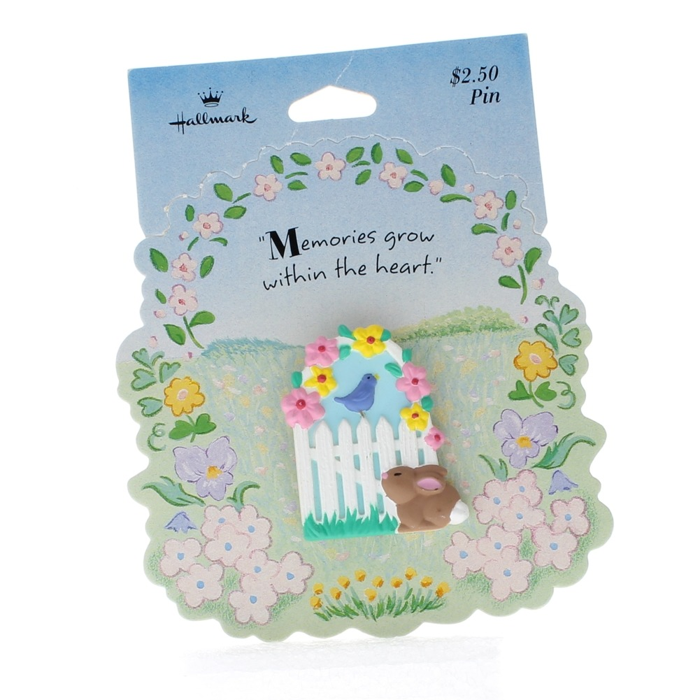 Hallmark Easter Pin Easter Bunny, Spring Gate and Bird