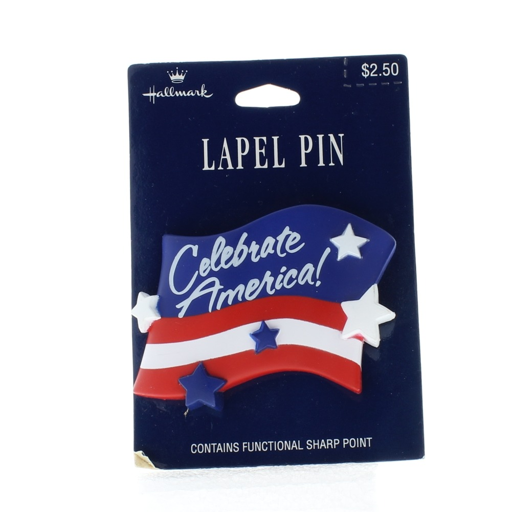 Celebrate America Red White and Blue Flag Hat Lapel Pin