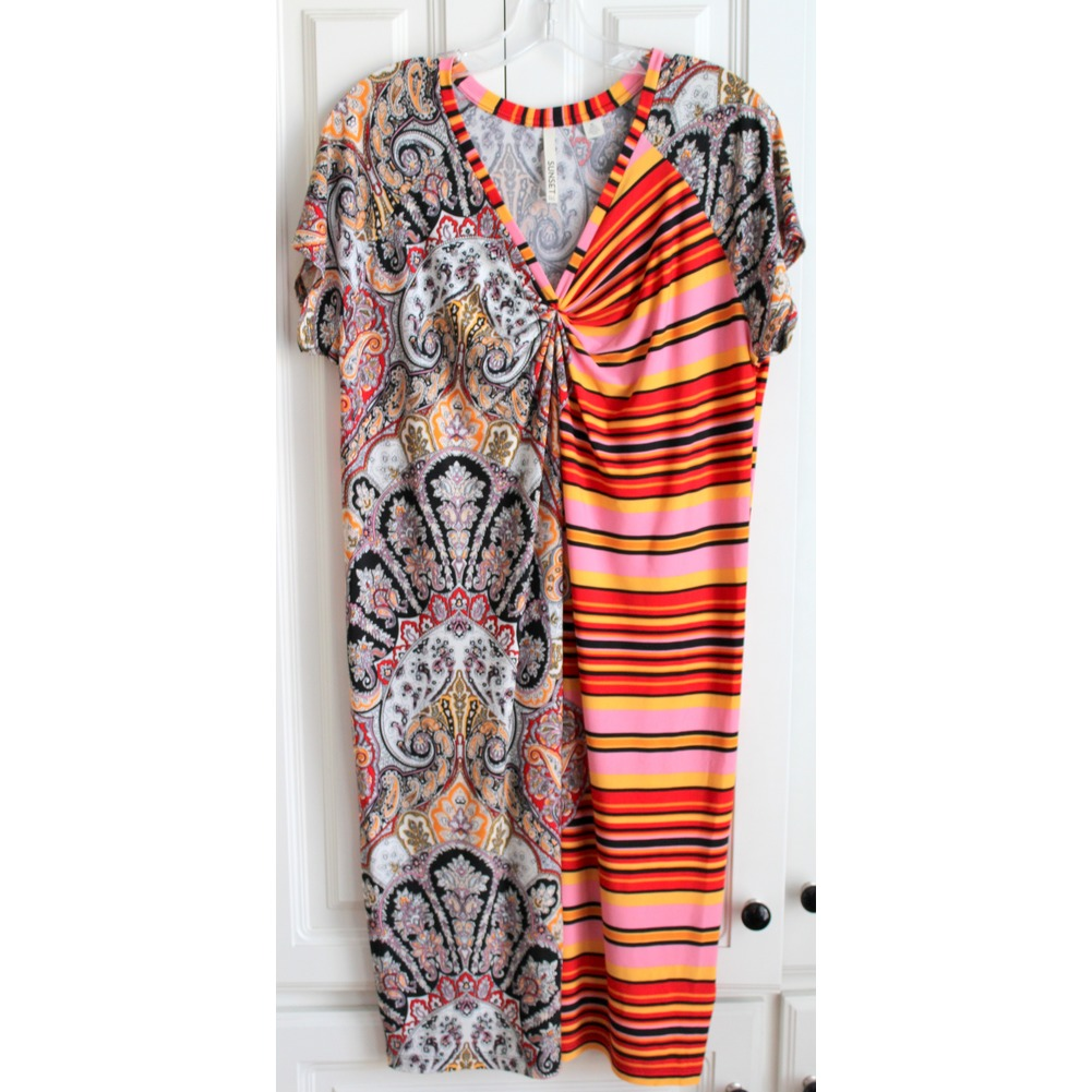 Women's Sunset RD Sz XL 2 Pattern Short Sleeve Dress