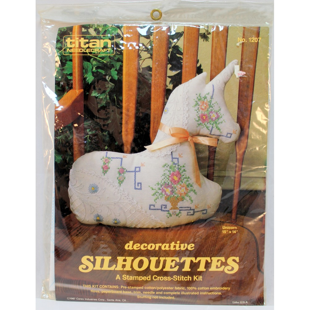 "Titan Decorative Silhouettes Stamped Cross-Stitch Kit Unicorn 15"" x 14"""