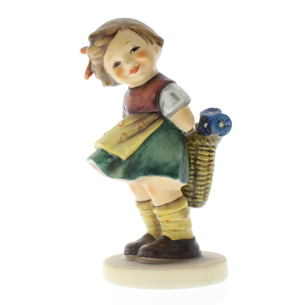 Goebel Hummel Figurine #377 Bashful Little Girl with Flowers TMK 5
