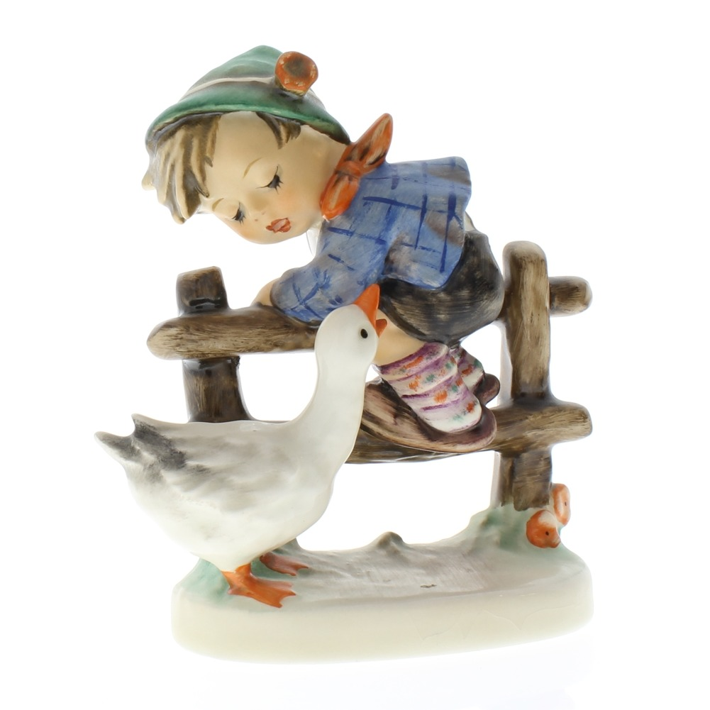 Goebel Hummel Figurine #195 Barnyard Hero TMK 5 Little Boy on fence with a Goose