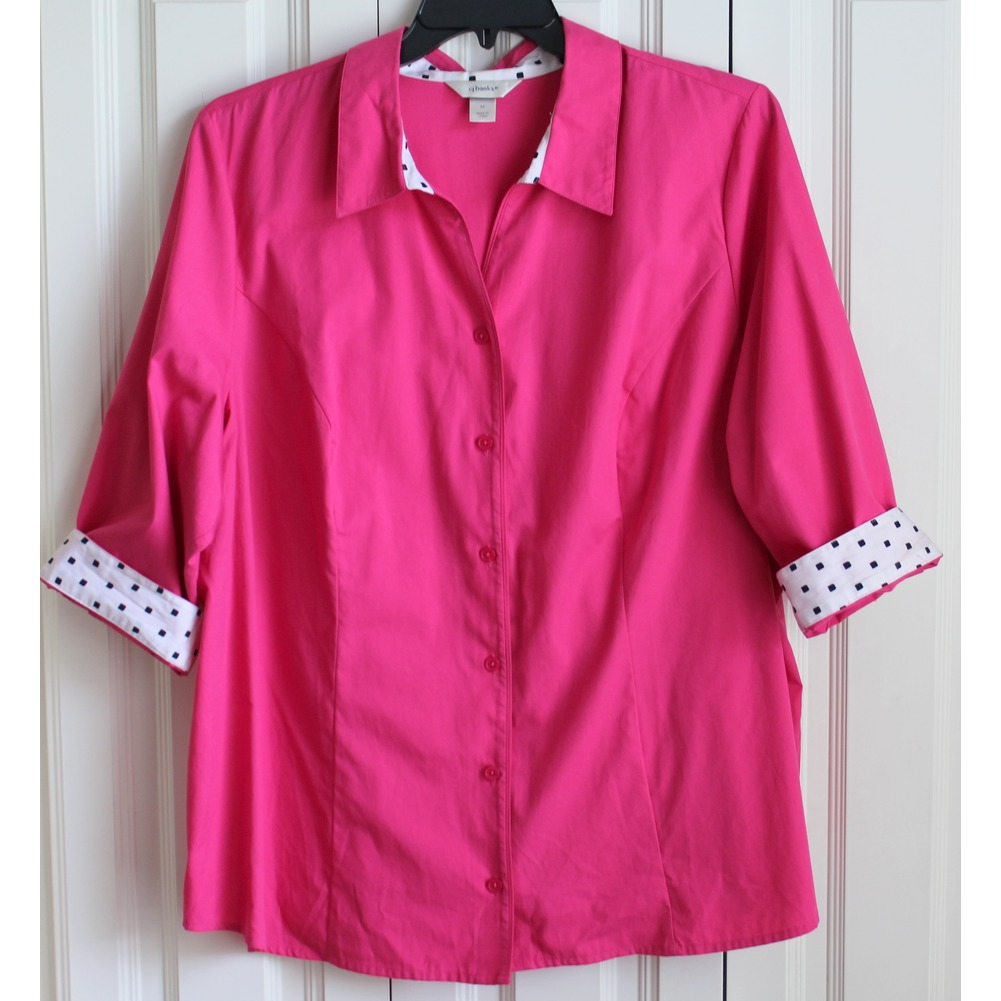 Women's Plus 3X CJ Banks Trendy Pink White Dotty Top