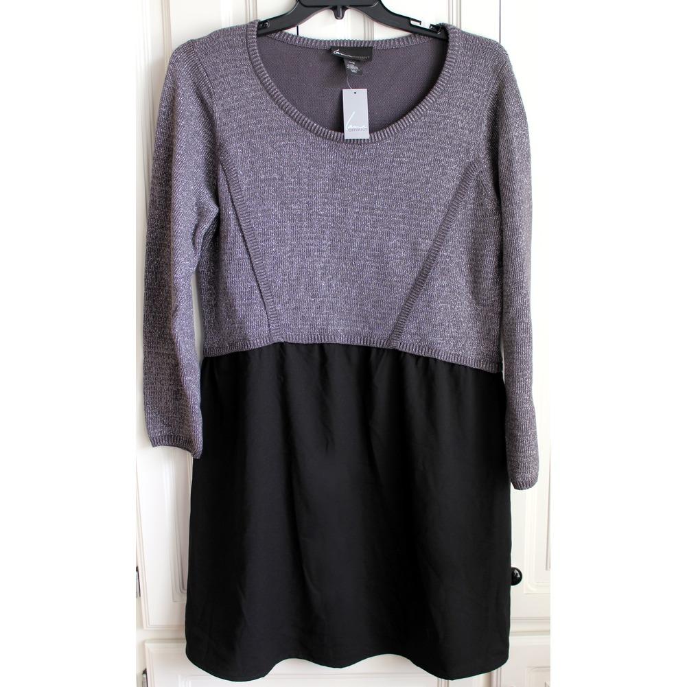 Women's Plus 14/16 New Lane Bryant Metallic Black Skater Skirt Dress