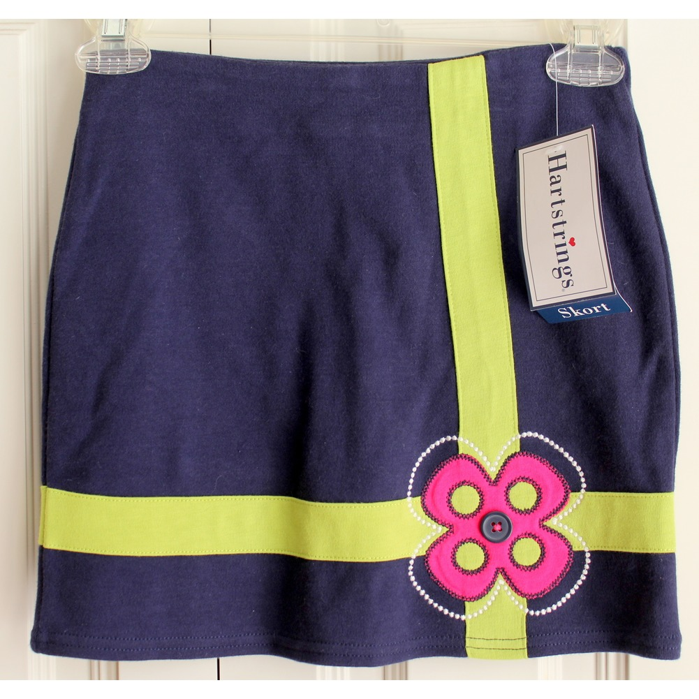 Girls Hartstrings New Navy Button Flower Skort Skirt Sz 7 Holiday