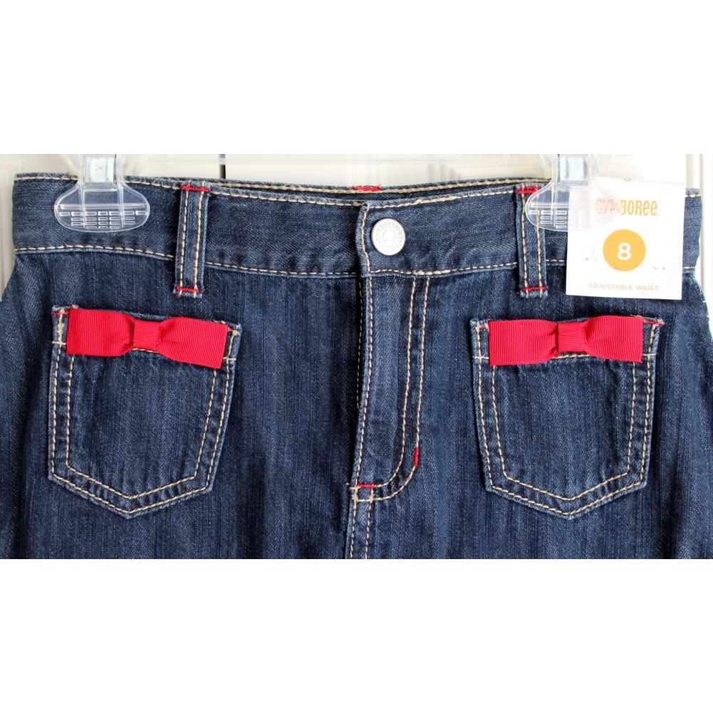 Gymboree NWT Girls Sz 8 Dark Wash Denim Ruffle Red Bow Skirt