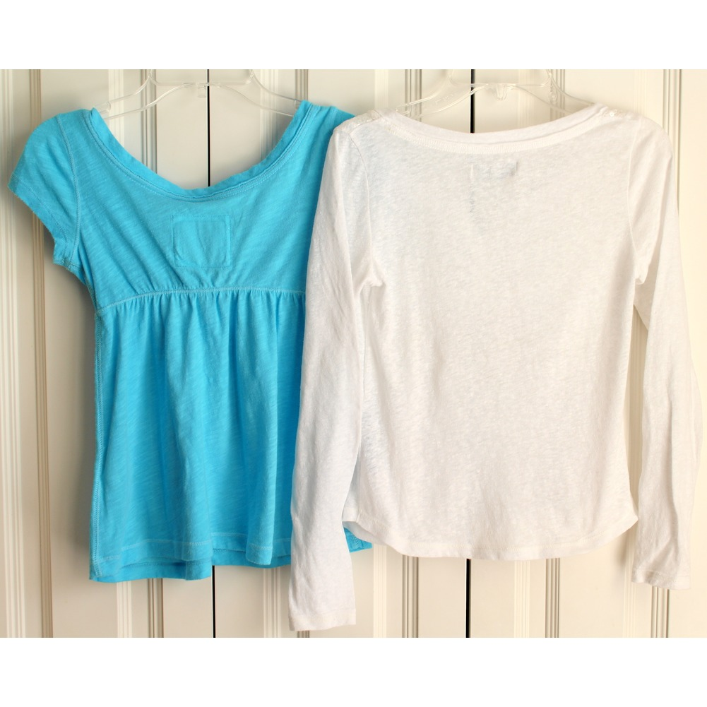 BTS A & F Abercrombie Kids 2 Shirt Lot Sequin White Aqua Sz S M