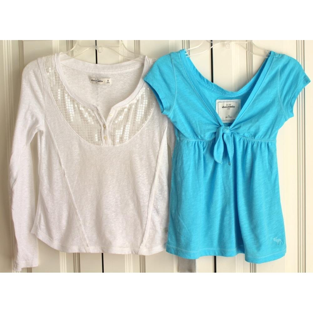 BTS A & F Abercrombie Kids 2 Shirt Lot Sequin White Aqua Sz S M