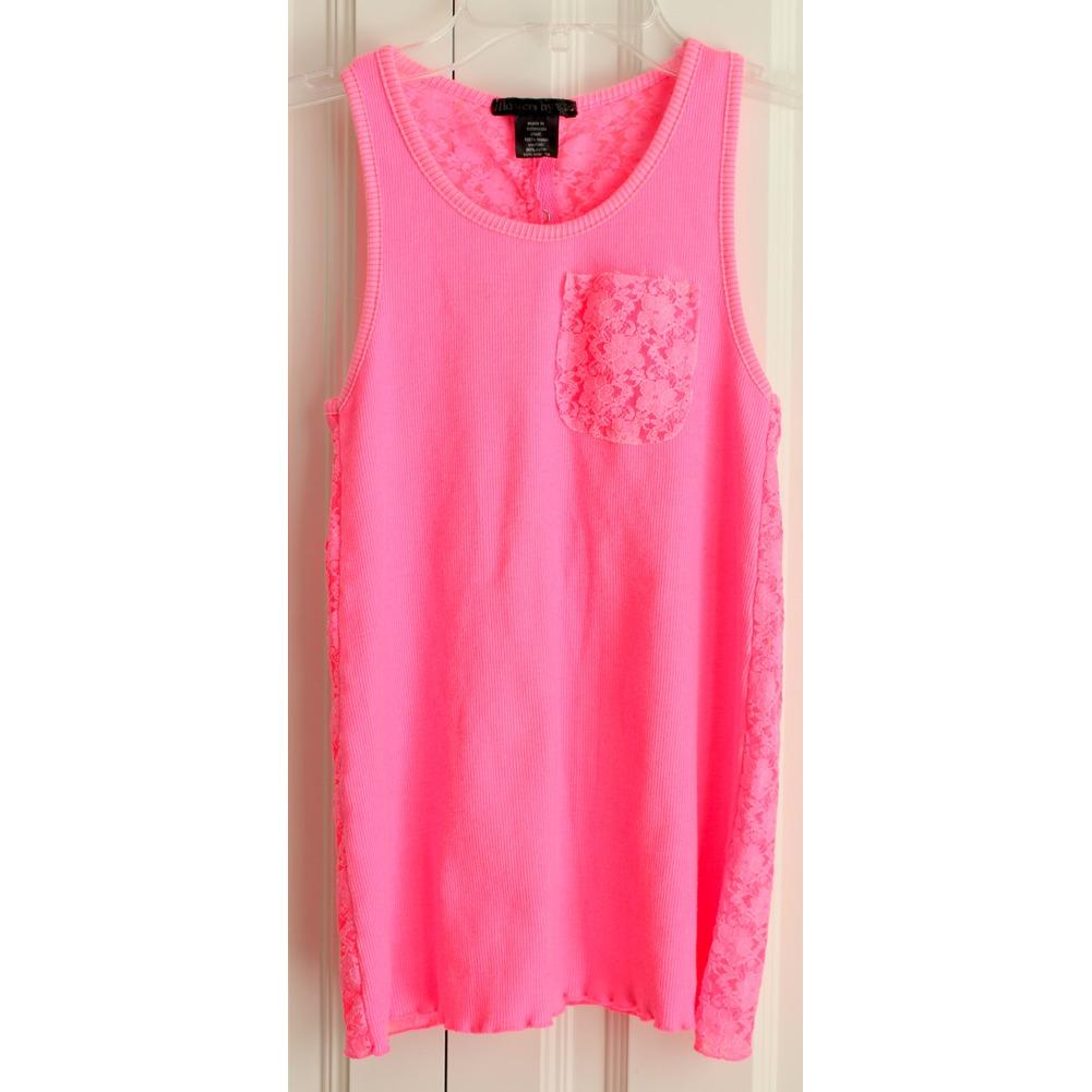 Flowers by Zoe Girls Sz L Flamingo Pink Lace Back Snap Shirt