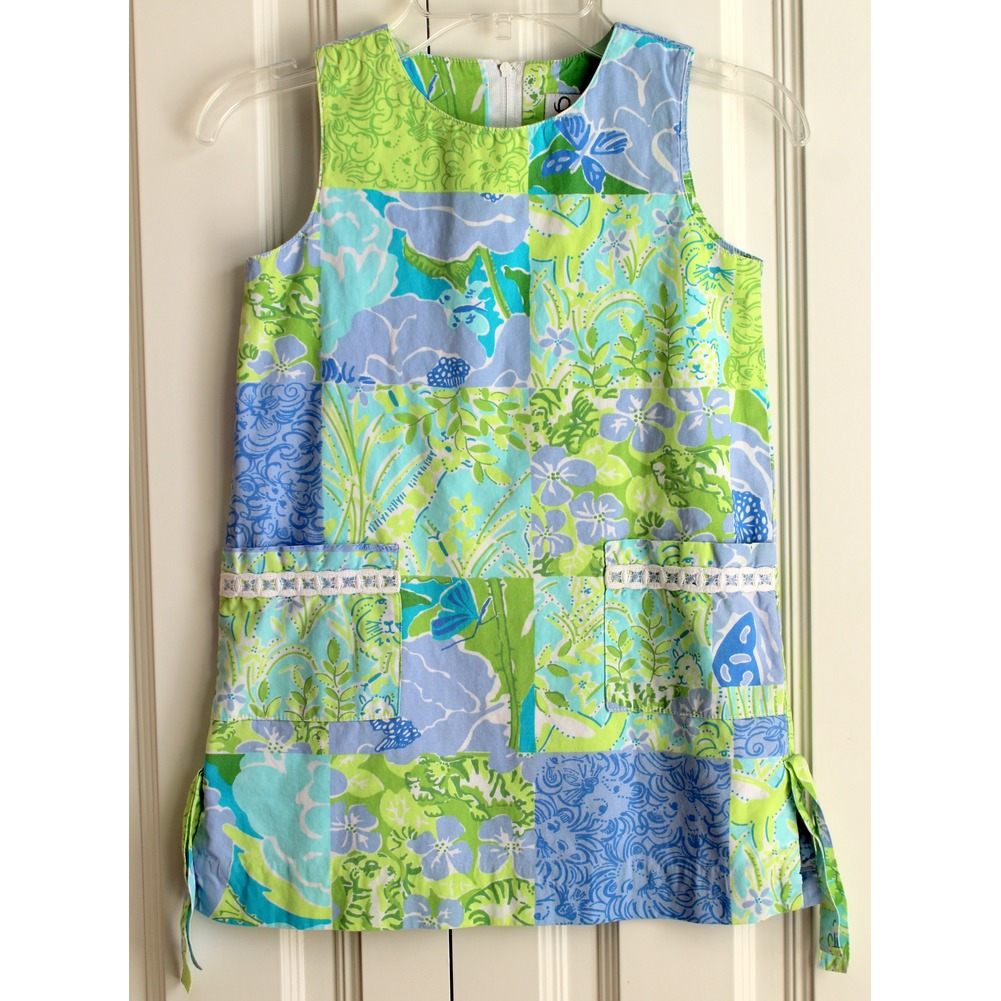 Girls Lilly Pulitzer Sz 5 A-line Pocket Green Blue Lined Dress
