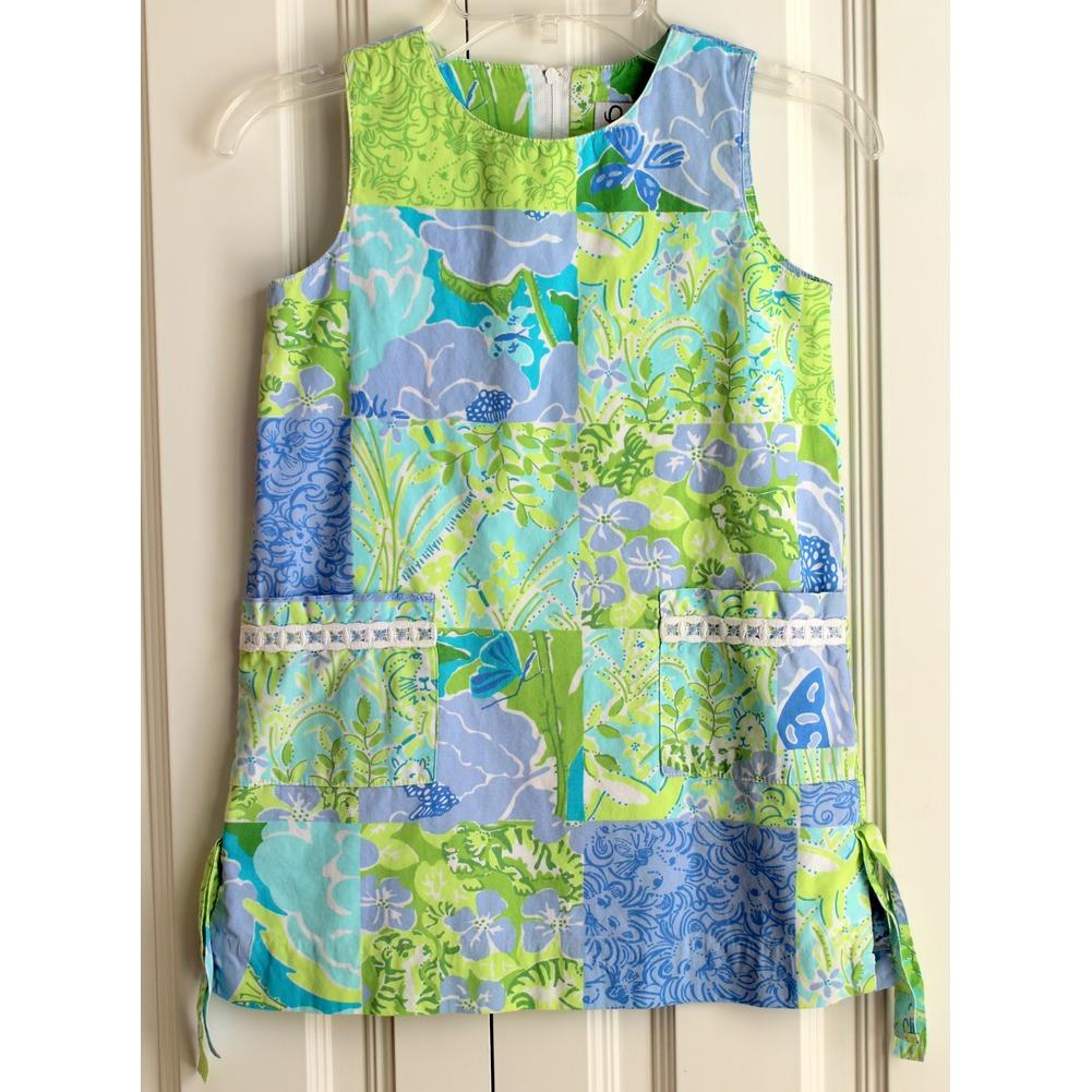 Girls Lilly Pulitzer Sz 5 A-line Pocket Green Blue Lined Dress