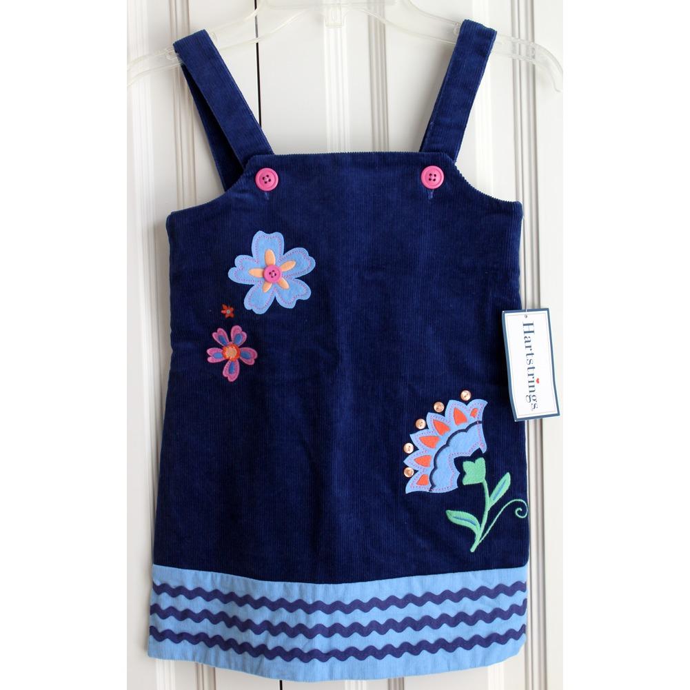 Girls Hartstrings New Sz 4 Embellished Navy Cordroy Jumper Dress