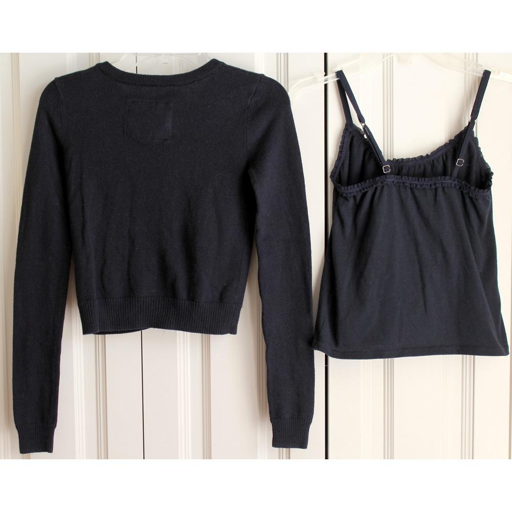 A & F Abercrombie & Fitch Kids Sz M 2 Pc Sweater Cami Set Navy