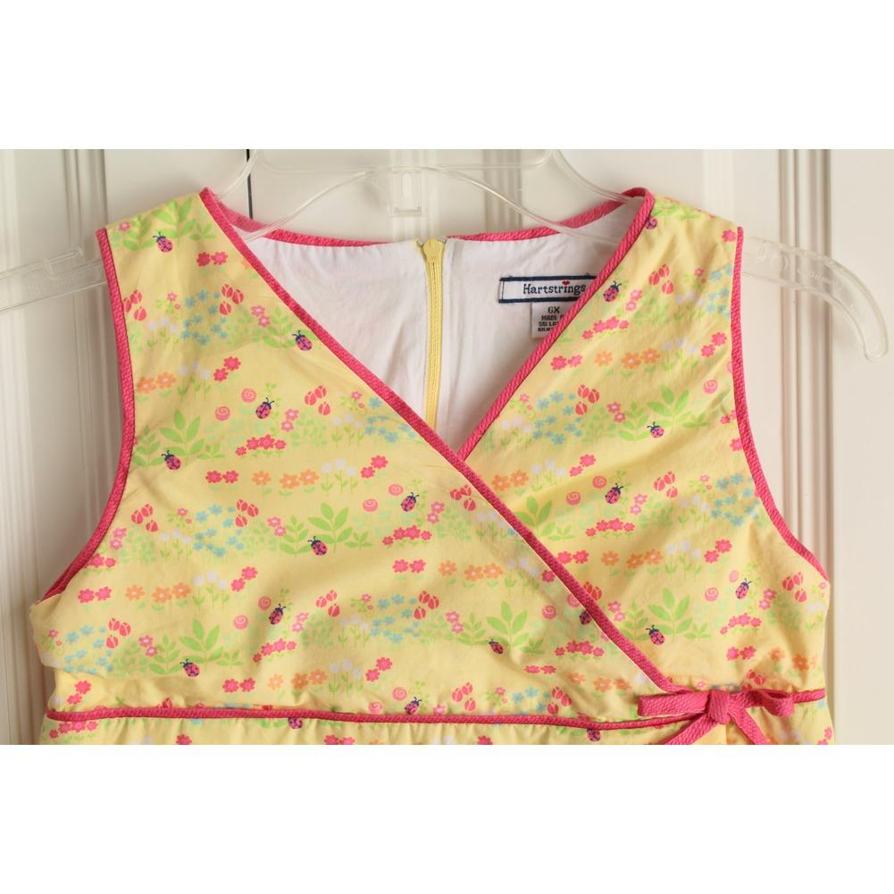 Girls Hartstrings Sz 6X Garden Theme Lady Bug Yellow Dress Lined