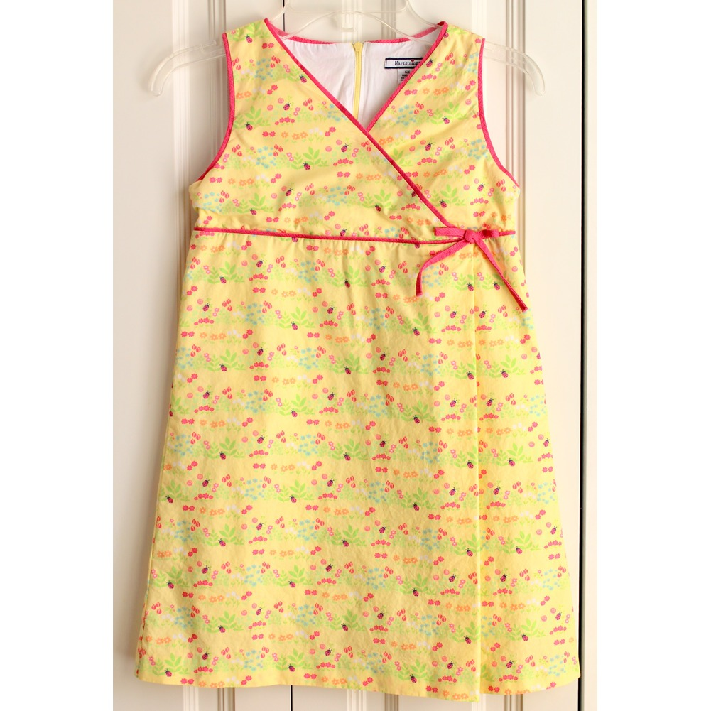 Girls Hartstrings Sz 6X Garden Theme Lady Bug Yellow Dress Lined