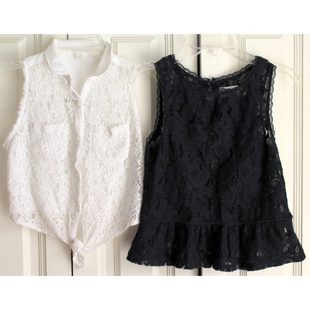AF Abercrombie & Fitch Kids Sz M 2 Lace Top Lot White Navy